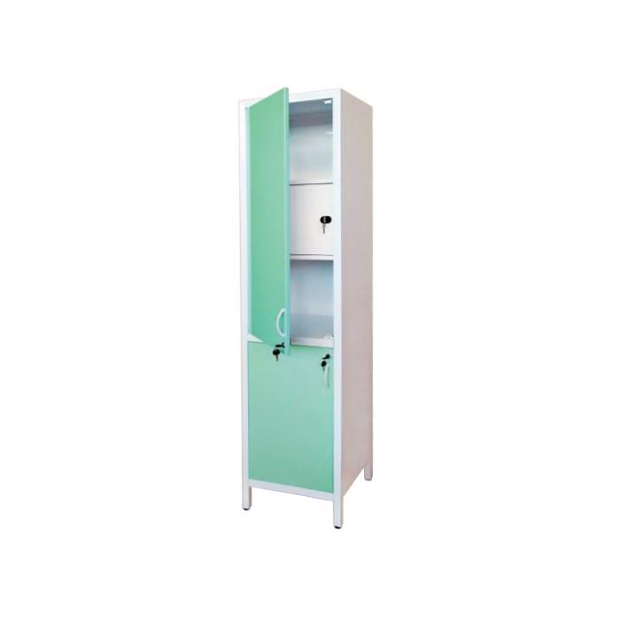 Шкаф медицинский металлический двухсекционный однодверный с сейфом для медикаментов ШМ-1.300