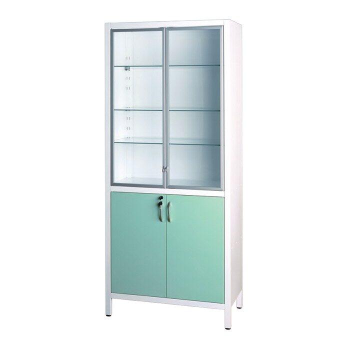 Шкаф медицинский металлический двухсекционный двухдверный с дверками металл-стекло для медикаментов ШМ-2.302