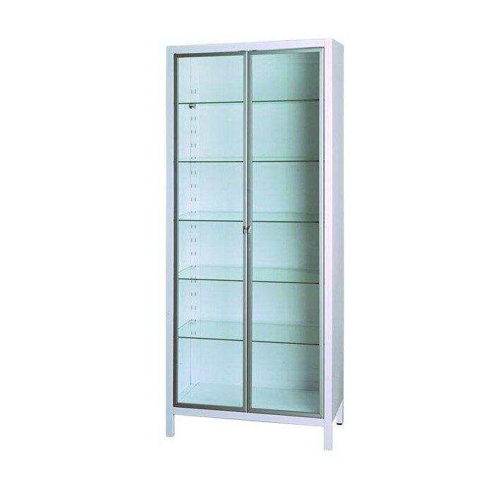 Шкаф медицинский металлический со стеклянными дверцами односекционный двухдверный для медикаментов ШМ-2.304